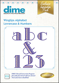 DIME Inspiration Designs - Wingtips Alphabet Lowercase & Numbers