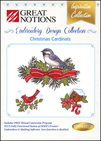 Great Notions Embroidery Designs - Christmas Cardinals
