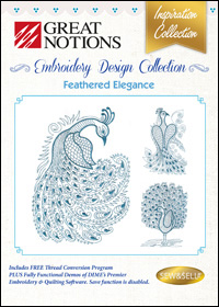 Great Notions Embroidery Designs - Feathered Elegance