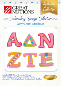Great Notions Embroidery Designs - Girly Greek Applique