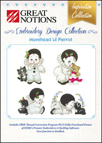Great Notions Embroidery Designs - Morehead Lil Pierrot
