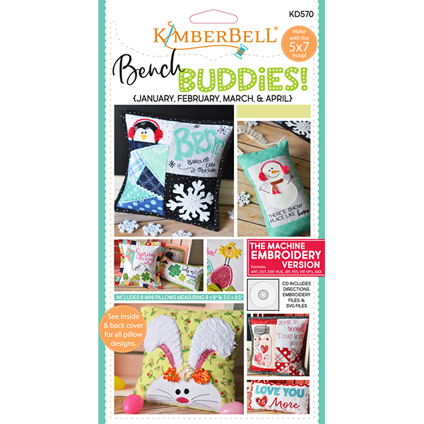 Kimberbell Designs - Bench Buddies, January, February, March, April, Machine Embroidery