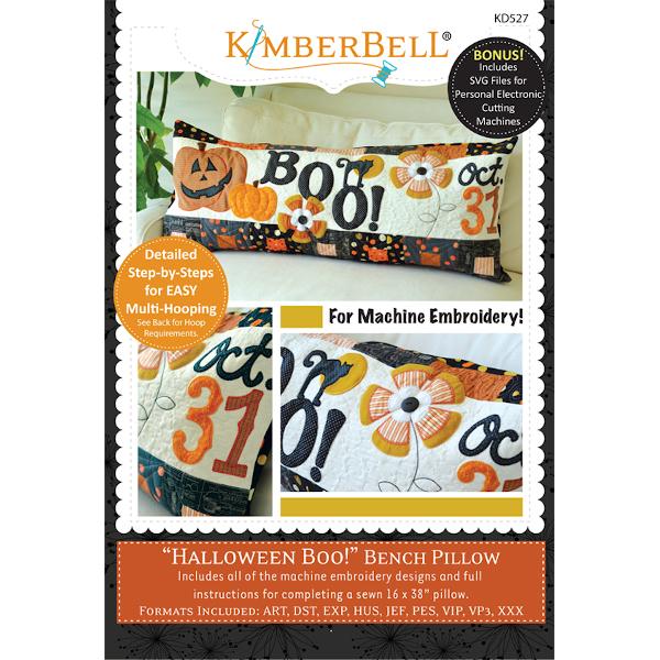 Kimberbell Designs - Bench Pillow, Halloween Boo! Bench Pillow, Machine Embroidery