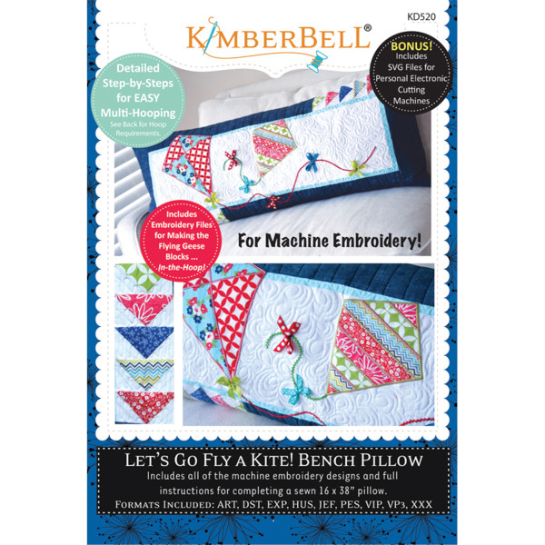 Kimberbell Designs - Bench Pillow, Let's Go Fly a Kite, Machine Embroidery