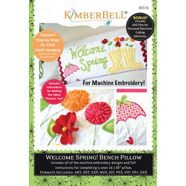 Kimberbell Designs - Bench Pillow, Welcome Spring, Machine Embroidery