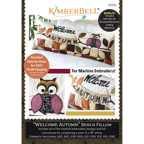 Kimberbell Designs - Bench Pillow, Welcome Autumn, Machine Embroidery
